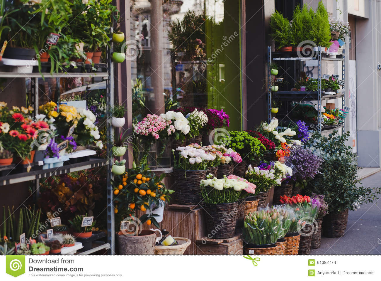Flower shop in europe stock photo image of outdoor france 61382774 flower shop in europe izmirmasajfo
