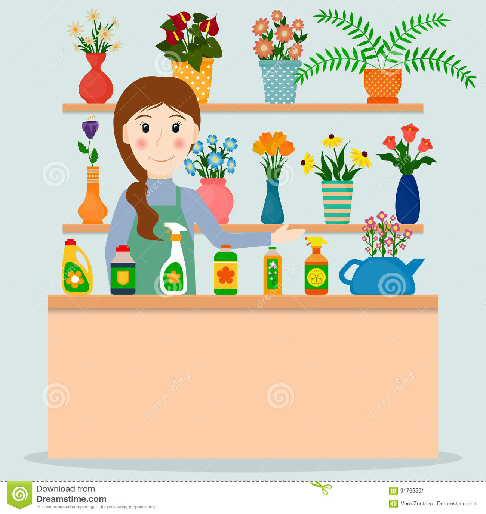 Flower Shop Florist Or Female Salesperson Stock Vector