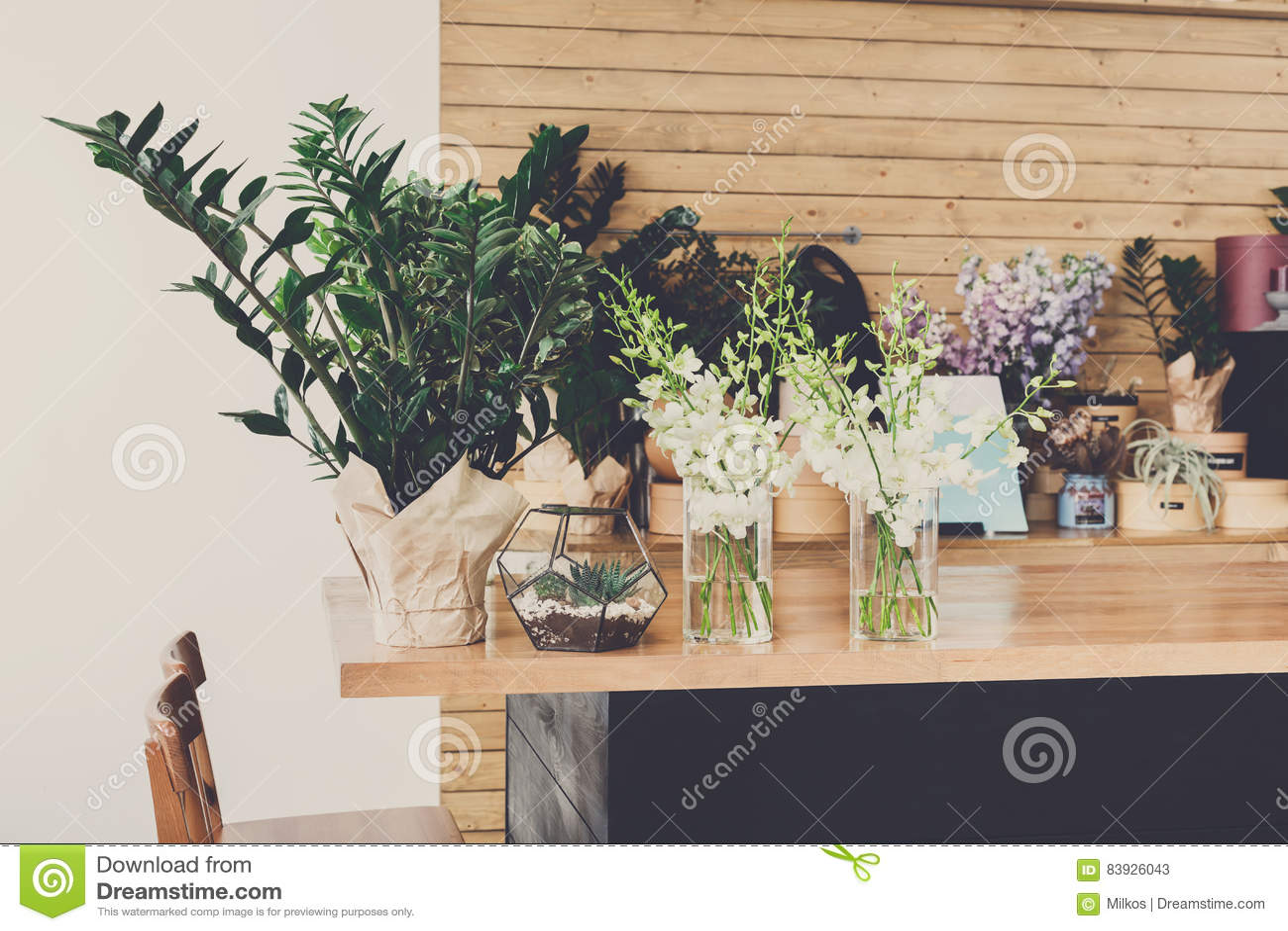 Flower shop interior, small business of floral design studio