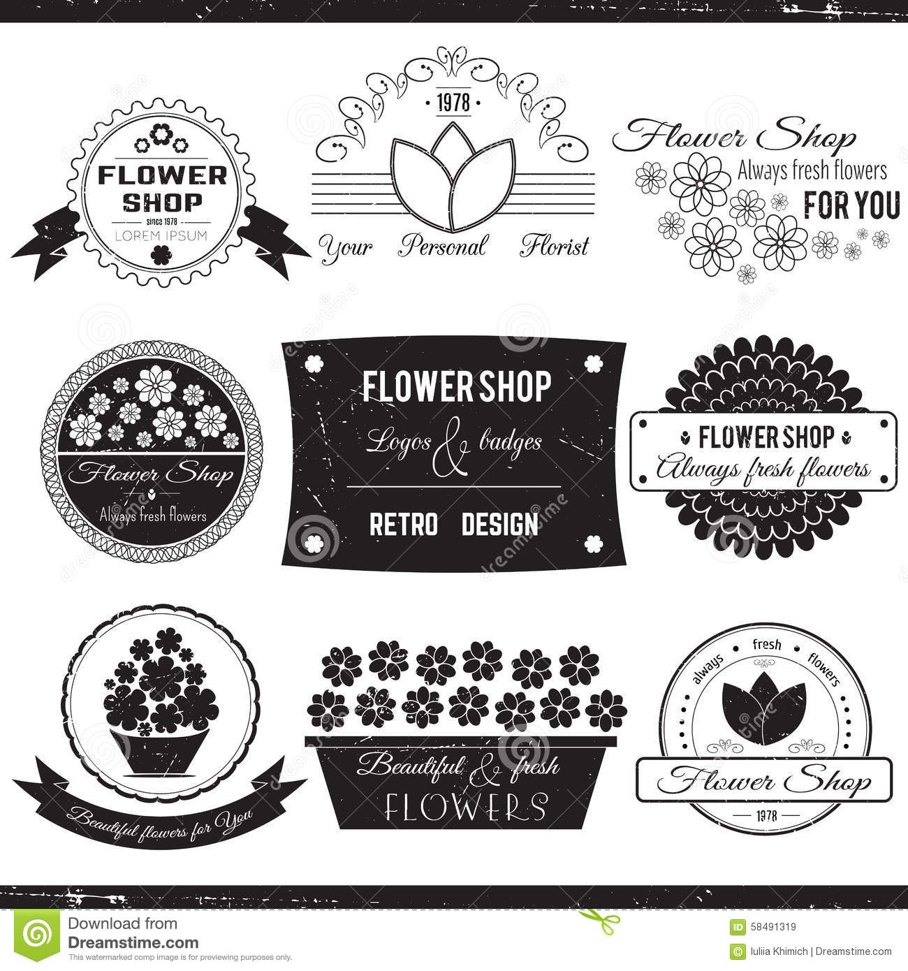Flower Shop Logos Stock Vector. Image Of Placard, Frame