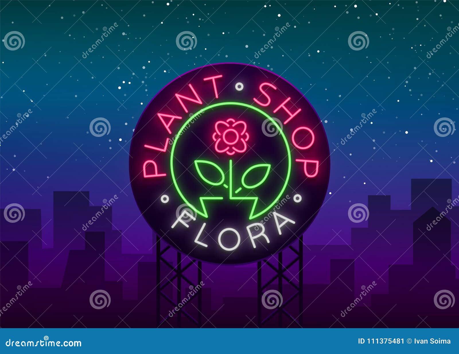 Flower shop plants florist flora emblem sign neon logo flower shop plants florist flora emblem sign neon logo template design element for business vivid advertising buycottarizona Choice Image
