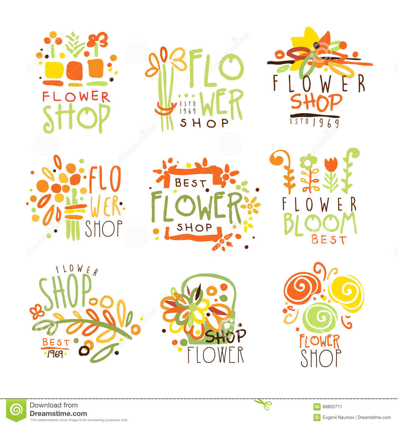 Flower Shop Red Yellow And Green Colorful Graphic Design Template