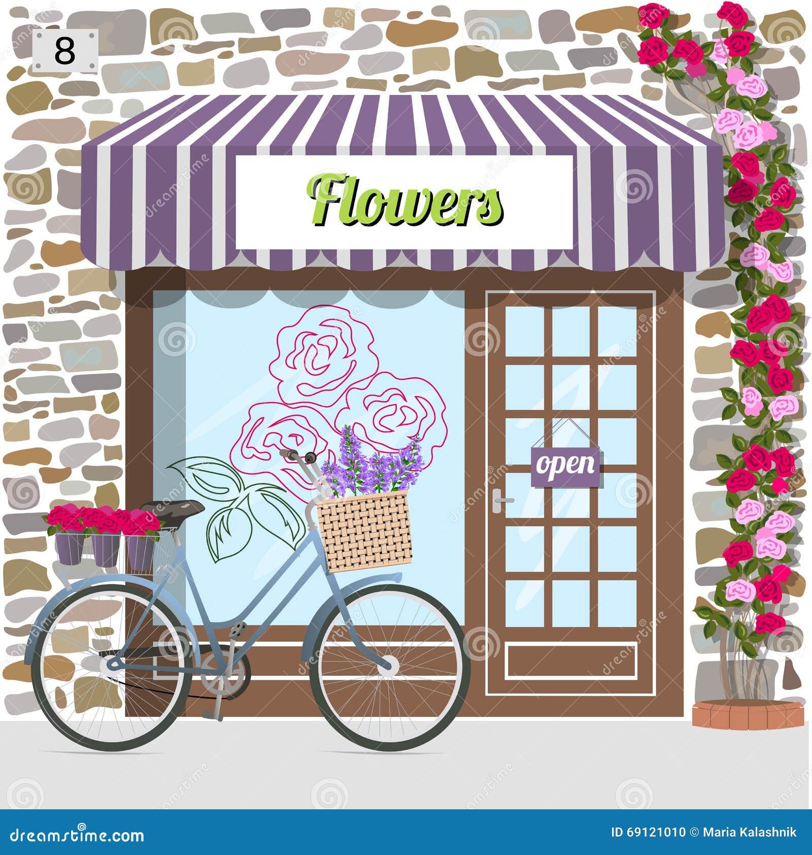 Flower Shop. Stock Vector. Illustration Of Bike