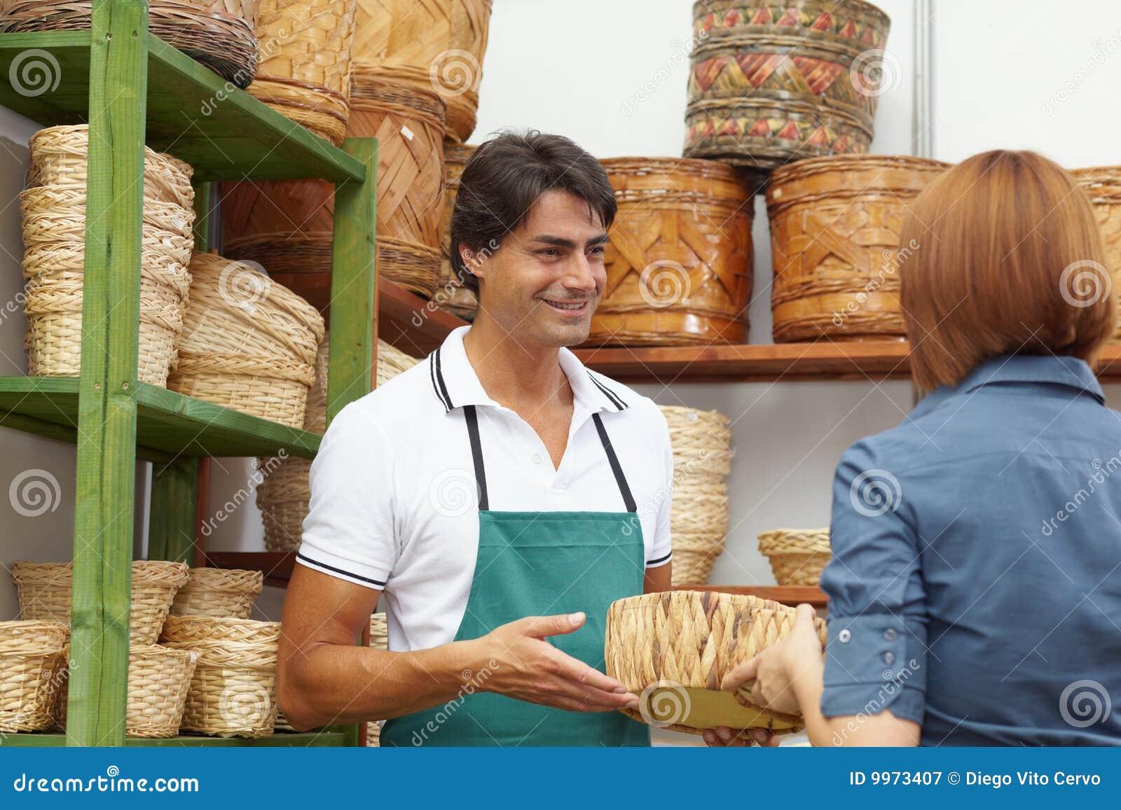 Flower shop shopping woman