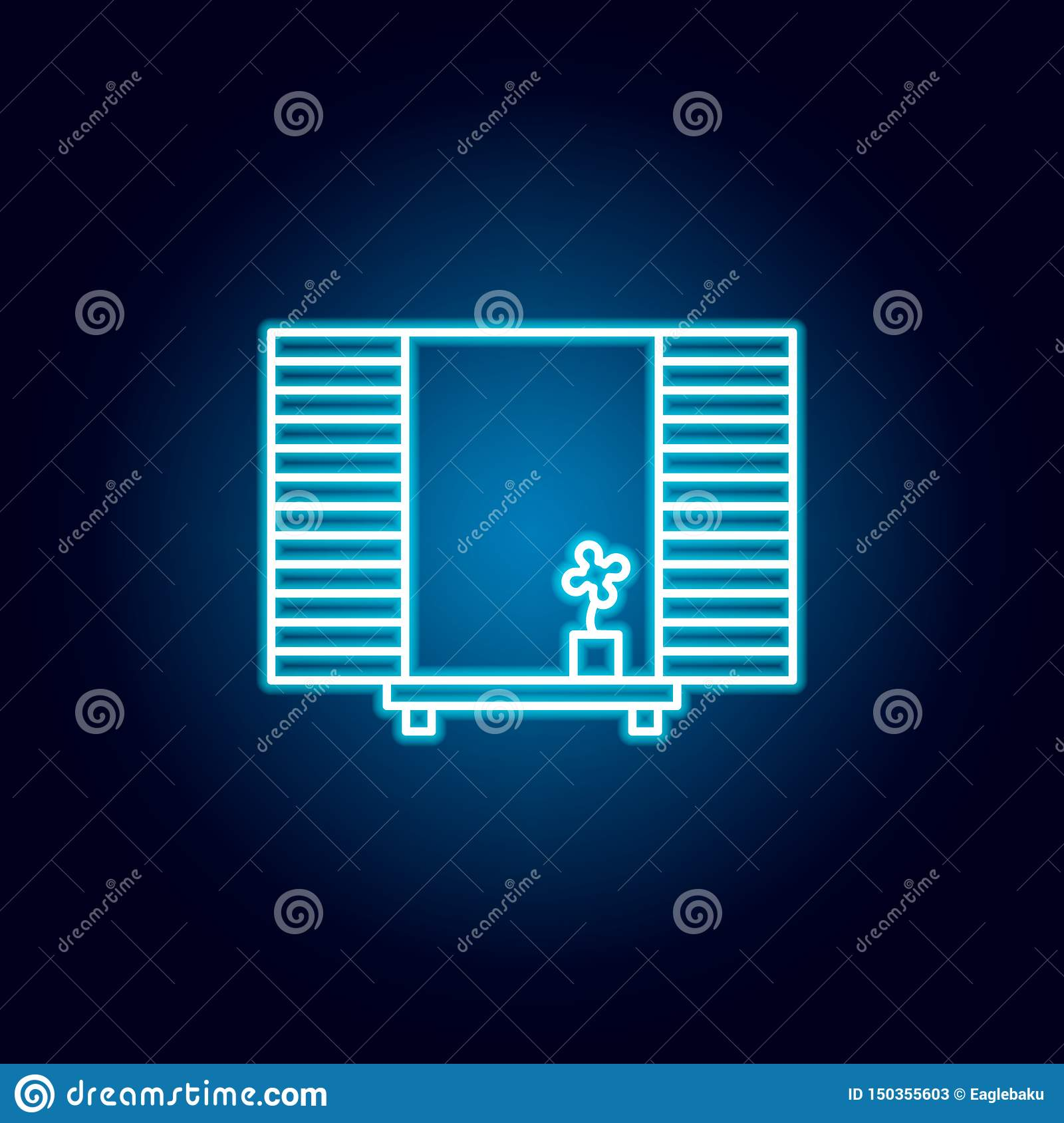 Flower Shutters Window Outline Icon In Neon Style Signs