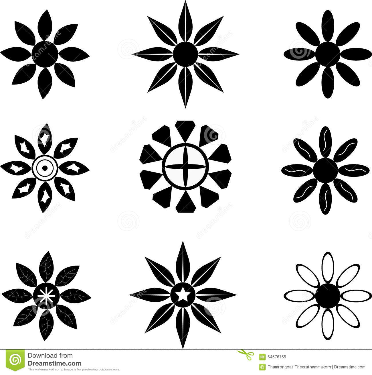 Flower Silhouette symbols stock illustration Image of illustration