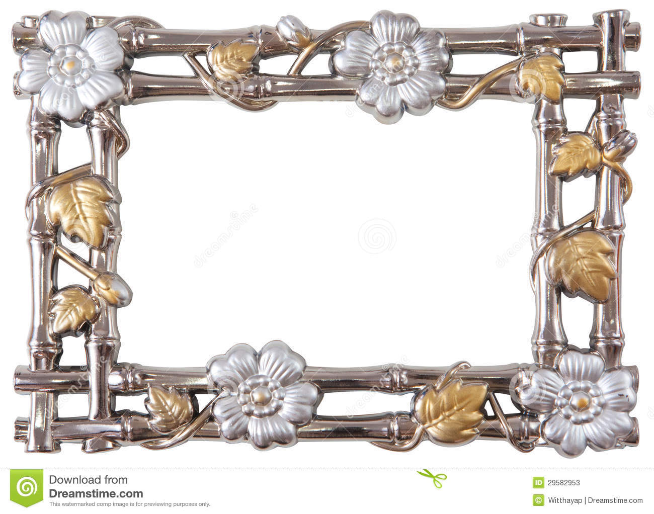 Flower Silver And Gold Frame Stock Image Image Of Elegance