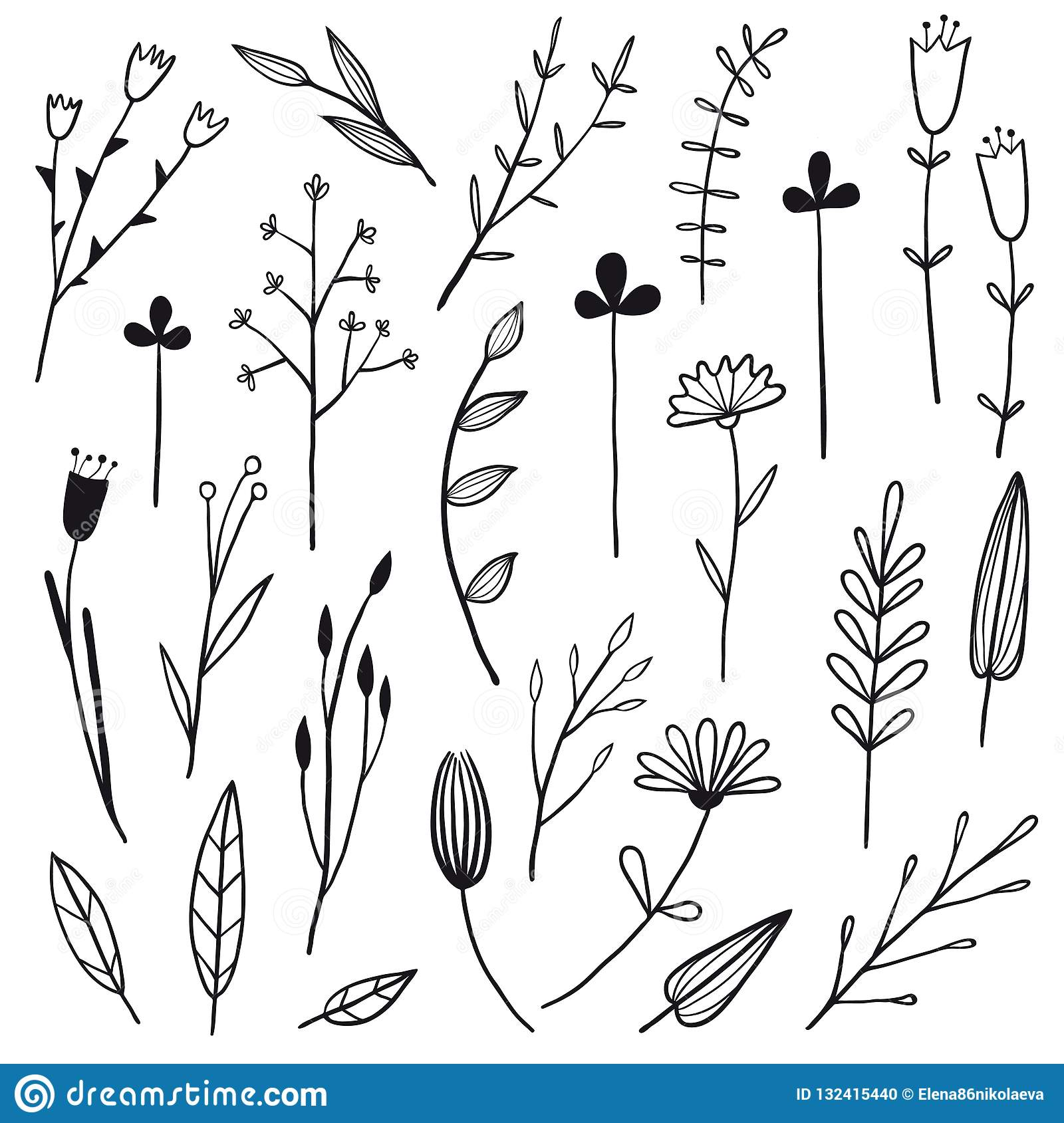Flower Simple Graphic Collection Stock Vector , Illustration