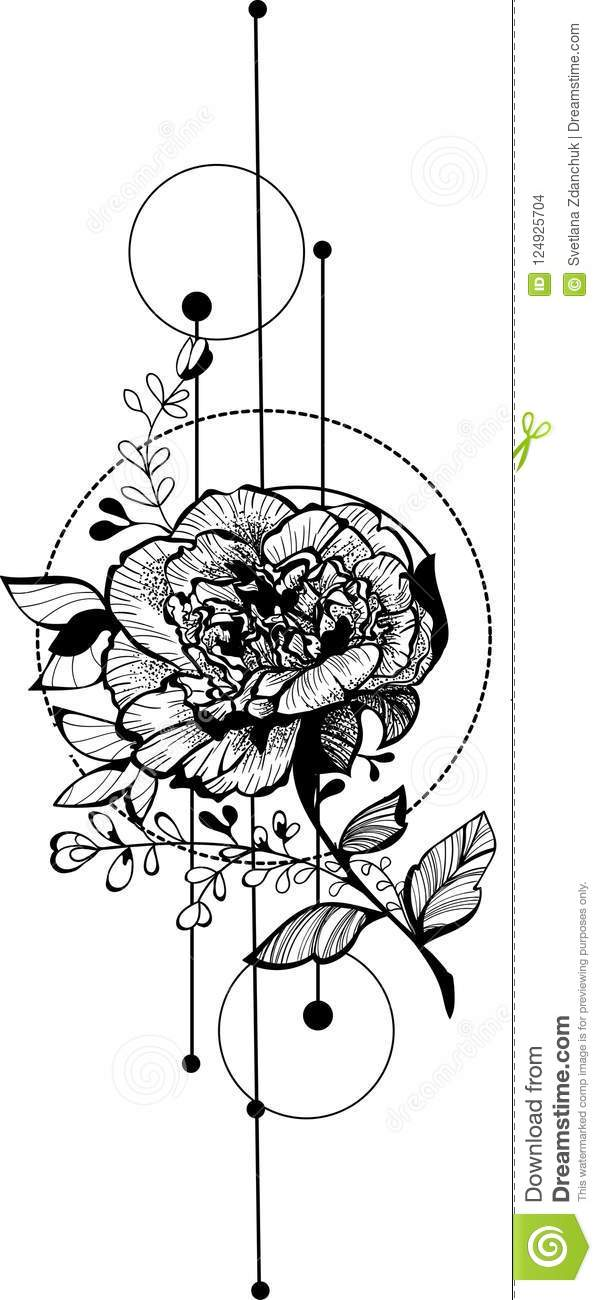 Flower Sketch Bouquet Hand Drawing For Fashion Trendy Tattoo Design