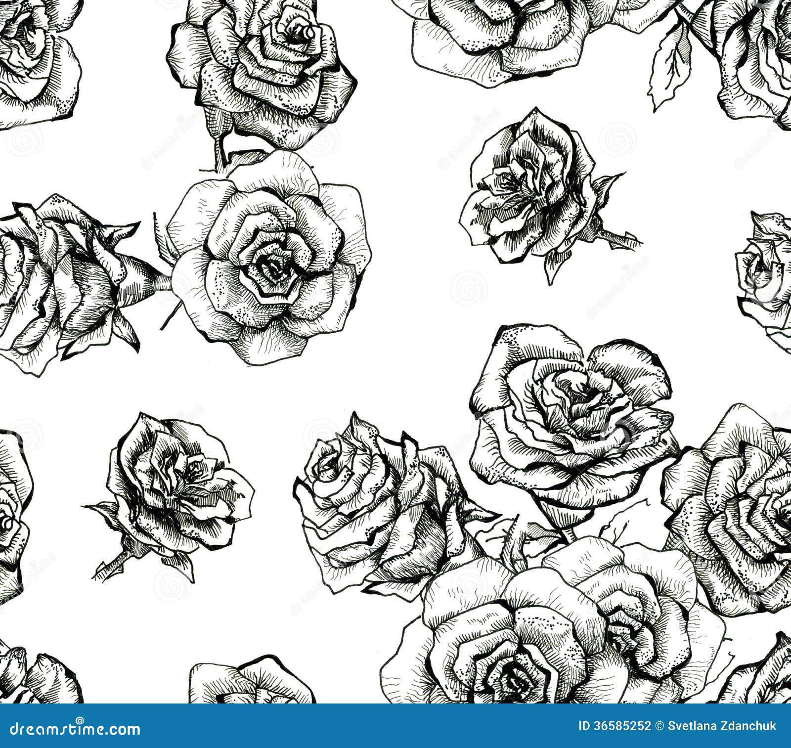 Flower Sketch Bouquet Seamless Pattern Stock Illustration