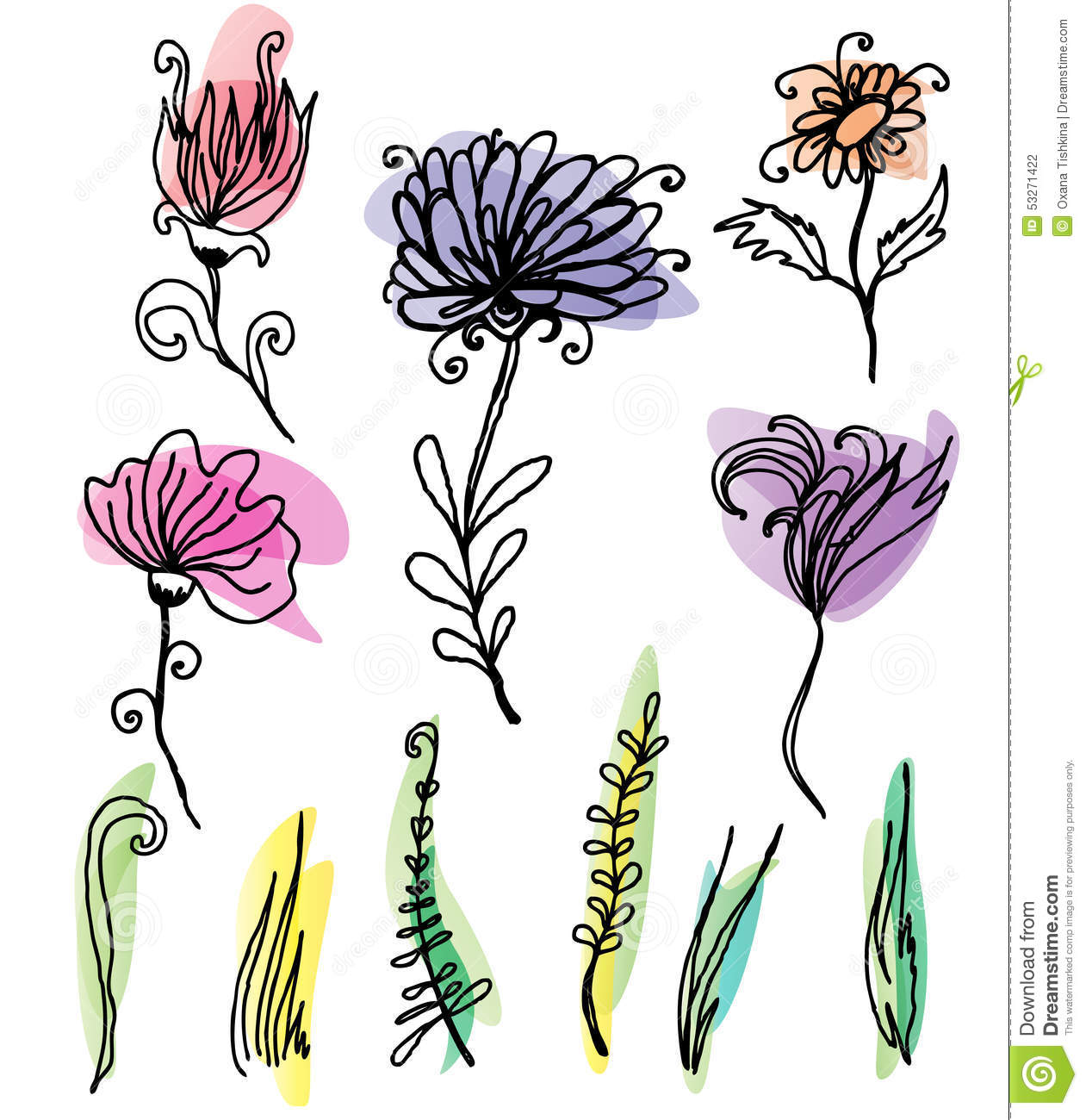 flower sketches set stock vector illustration of colourful 53271422