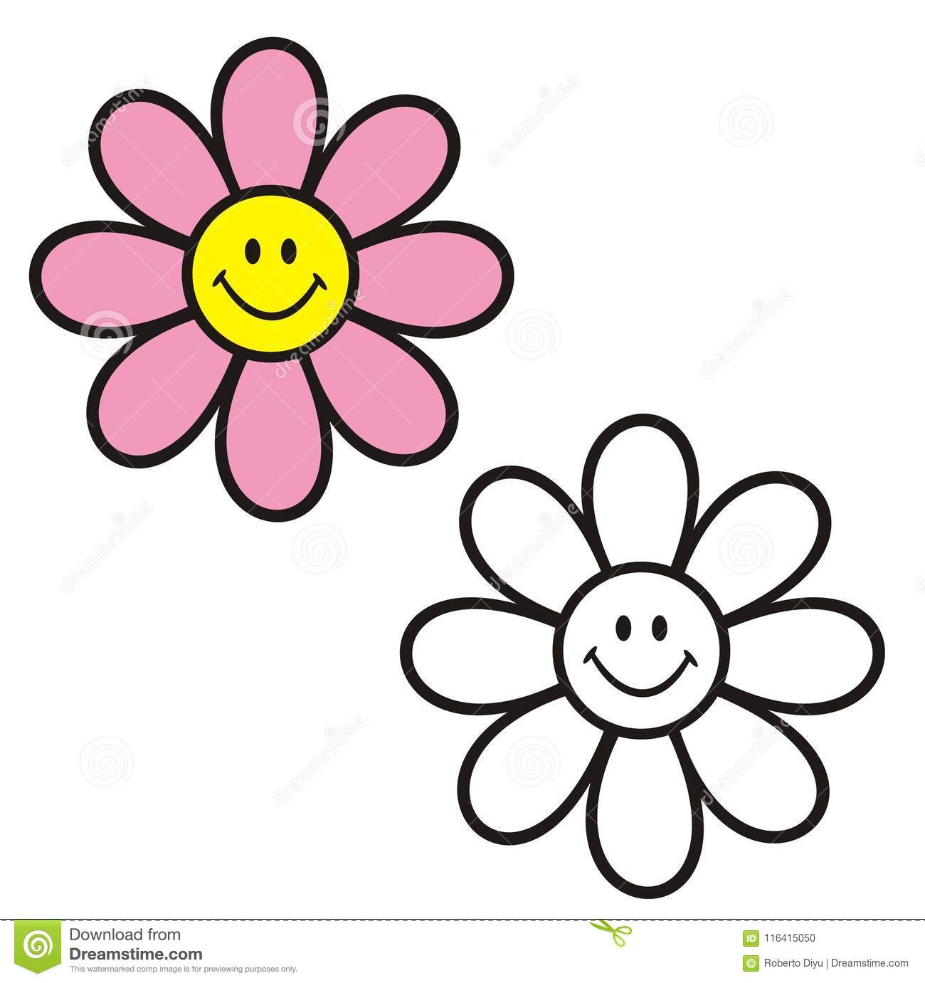Flower With Smiley Face. Coloring Book. Stock Vector - Illustration ...