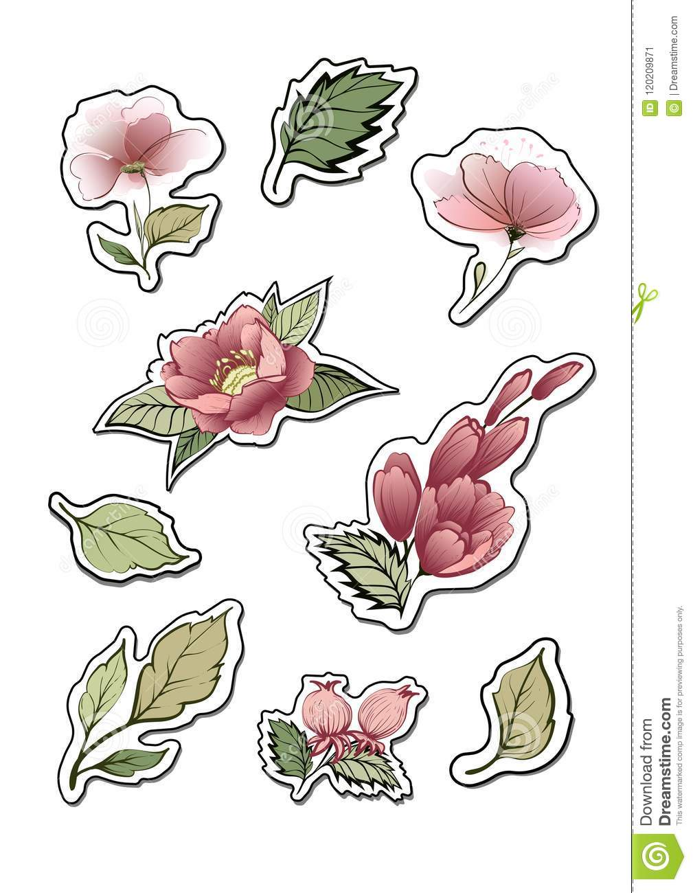 flower stickers. design elements for notes. stock vector