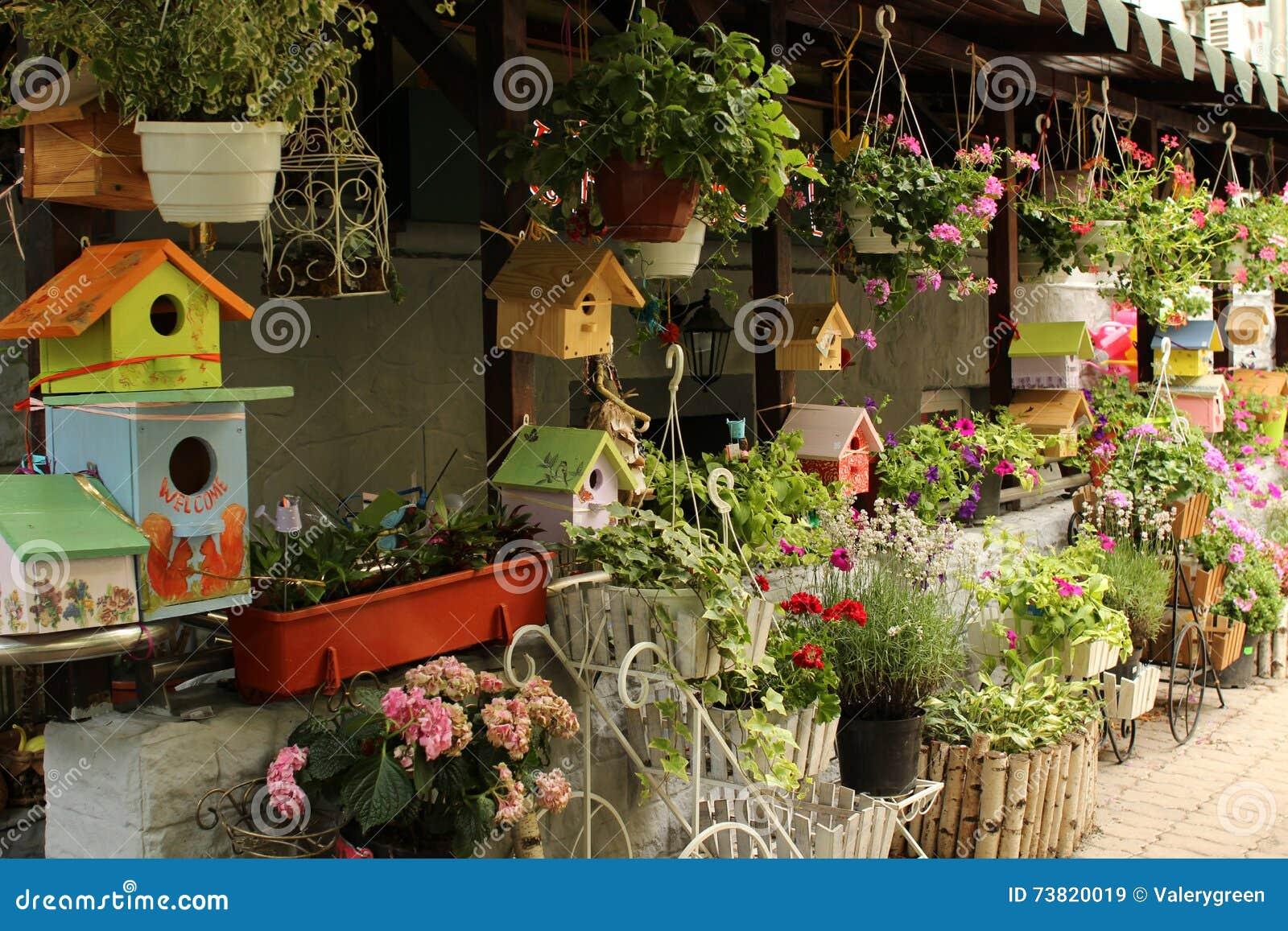 Flower Store Exterior Decoration Stock Image - Image of market ...