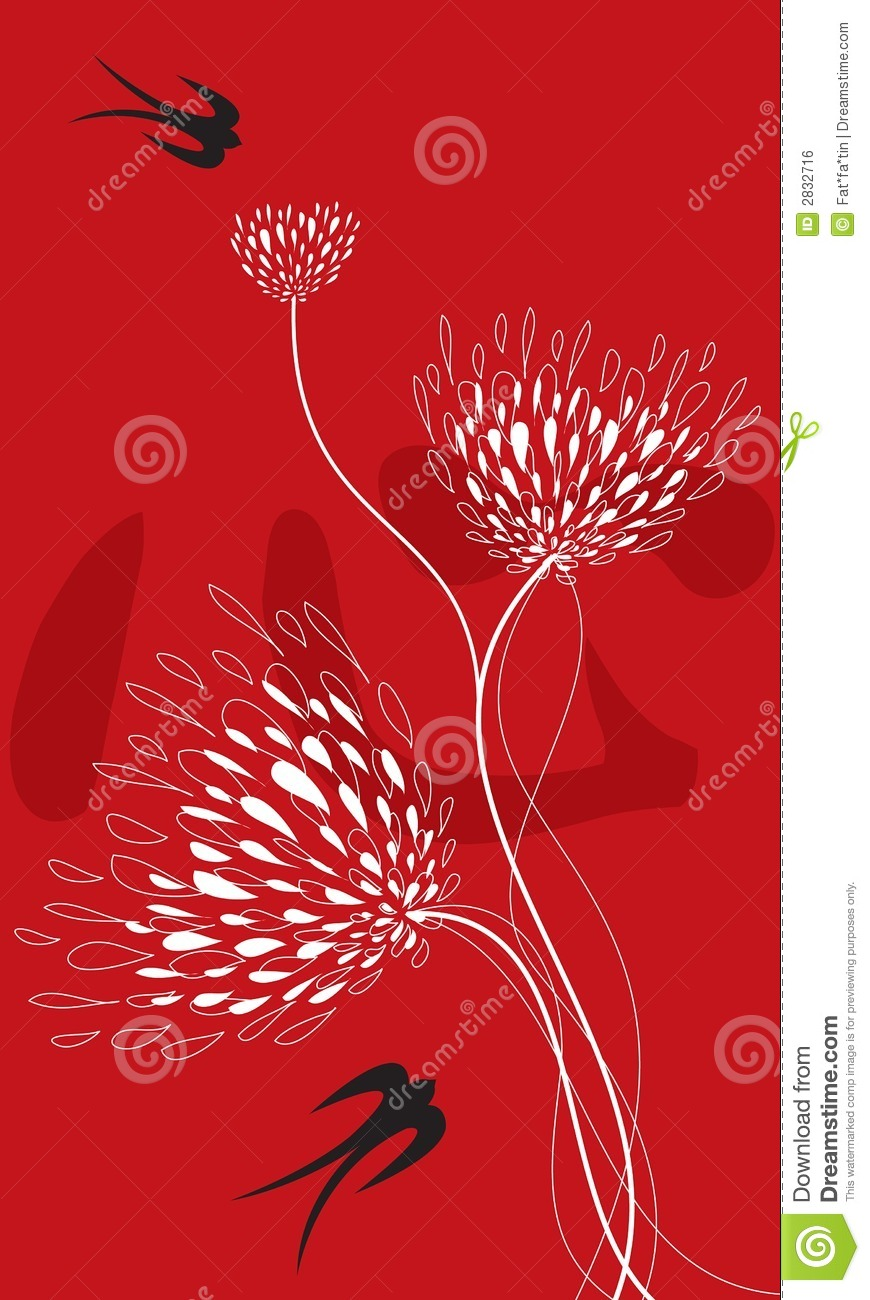 Flower and swallows on red stock vector  Illustration of asia - 2832716