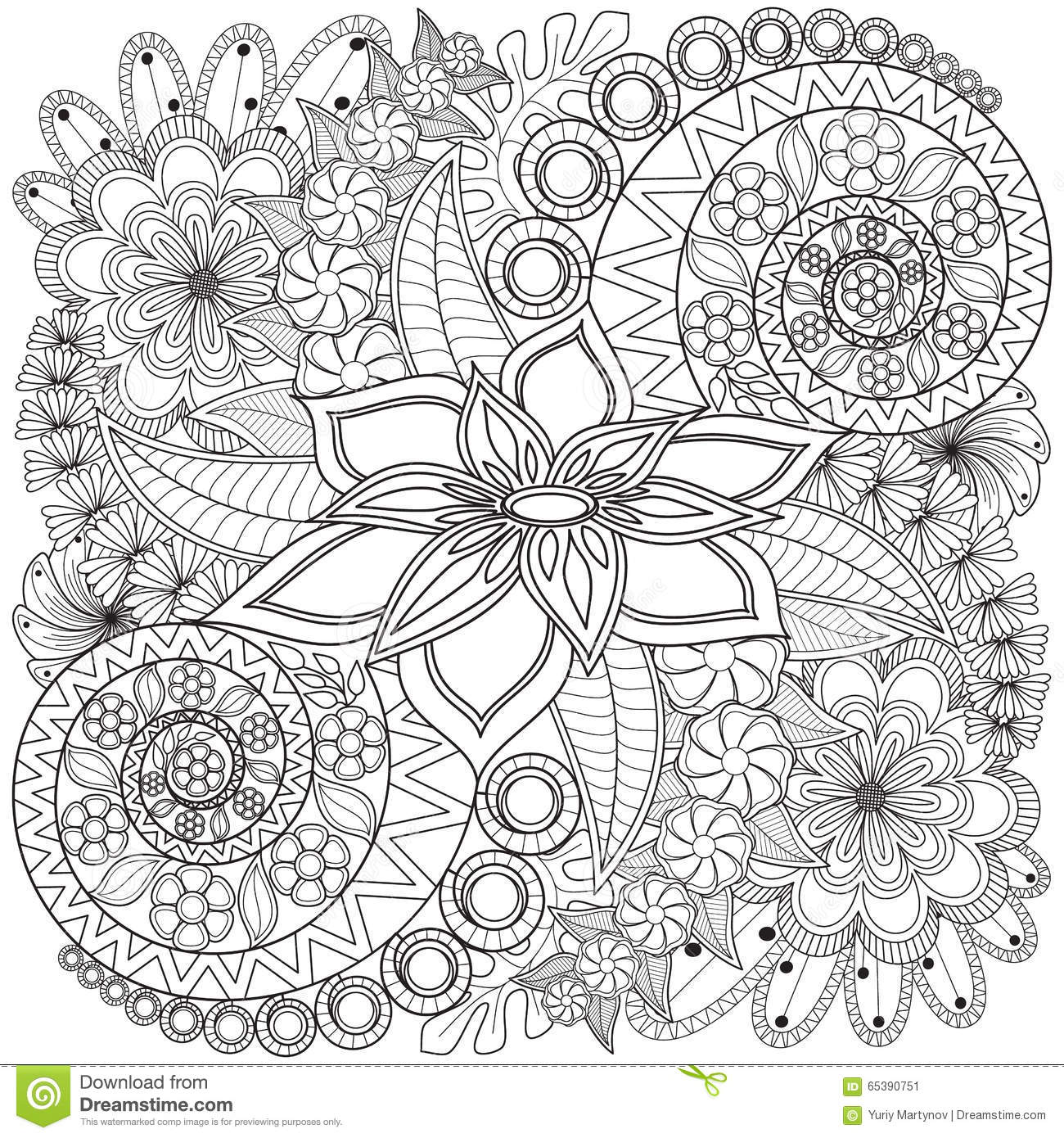 flower swirl coloring page pattern stock image image of book