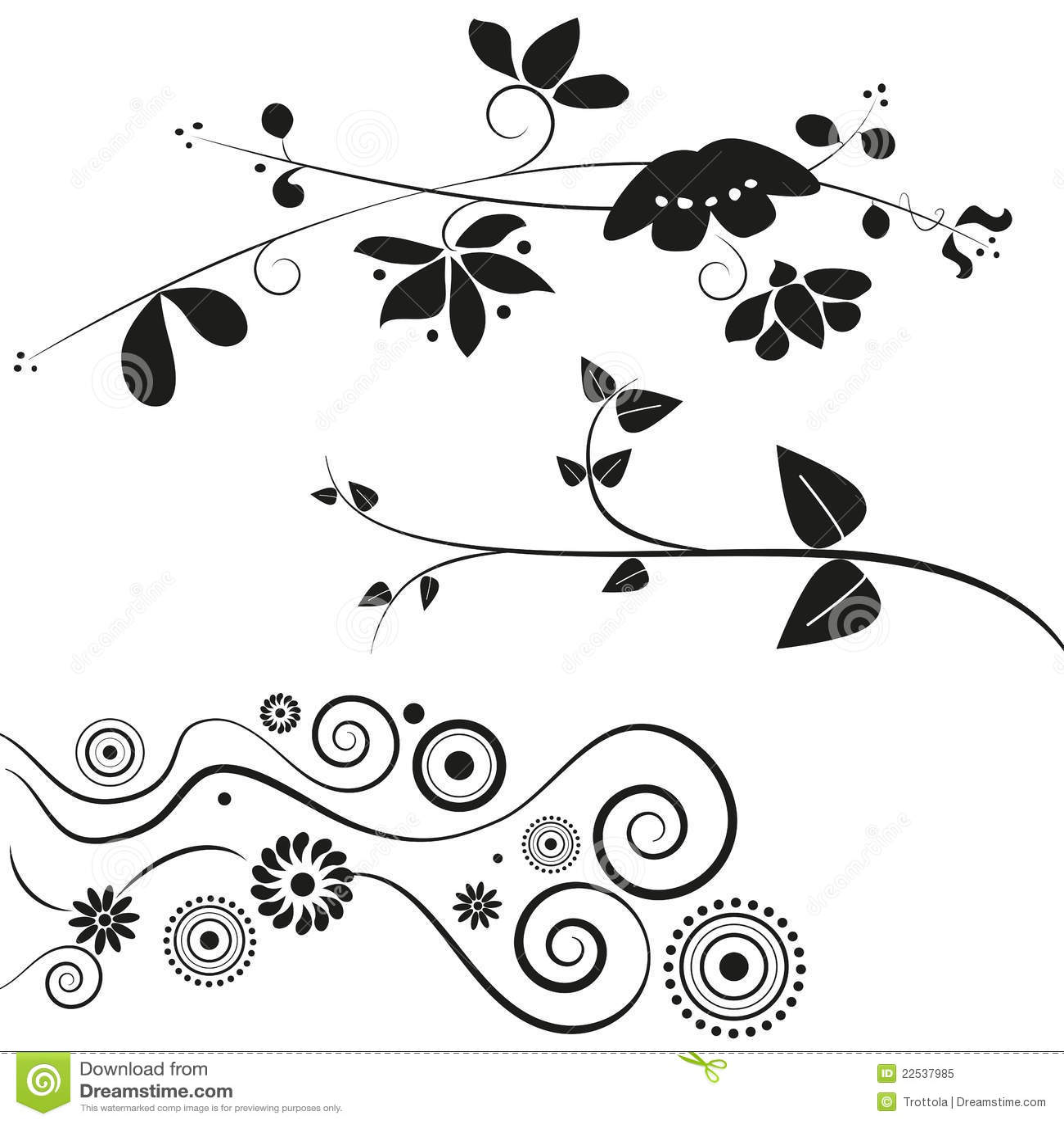 Flower and swirl decorations royalty free stock photo - Hojas de decoracion ...