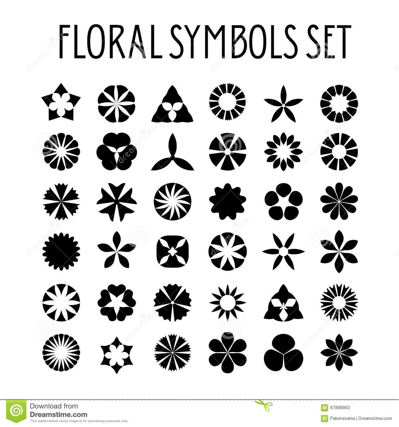 Flower symbols set stock vector illustration of daisy 67898963 flower symbols set biocorpaavc Image collections