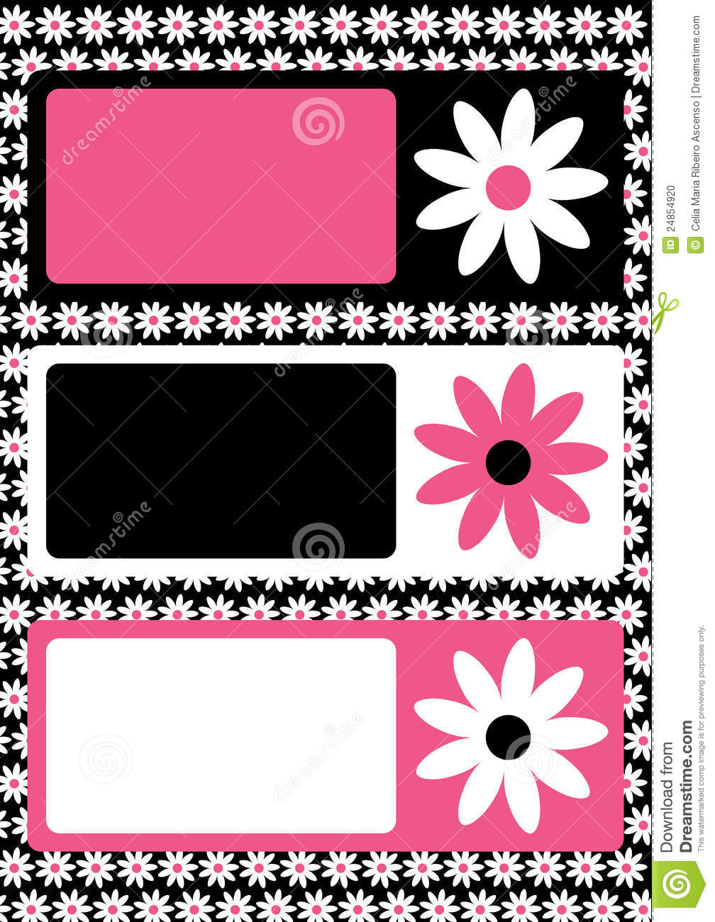 Flower tags frame or greeting card