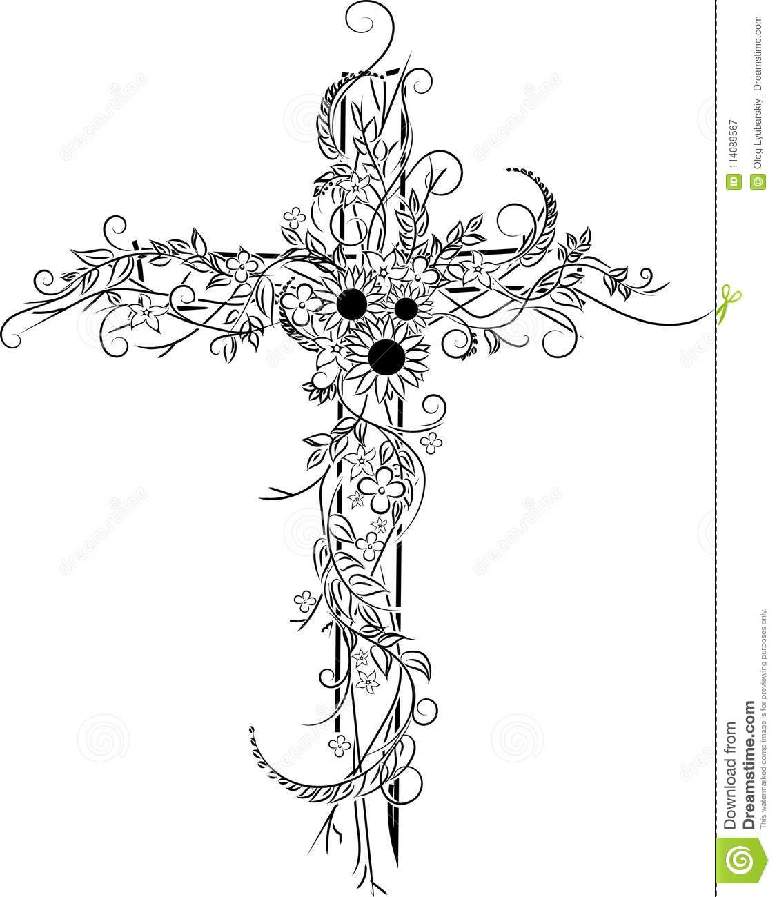 Flower Tattoo Cross Decor Stock Vector Illustration Of Heart