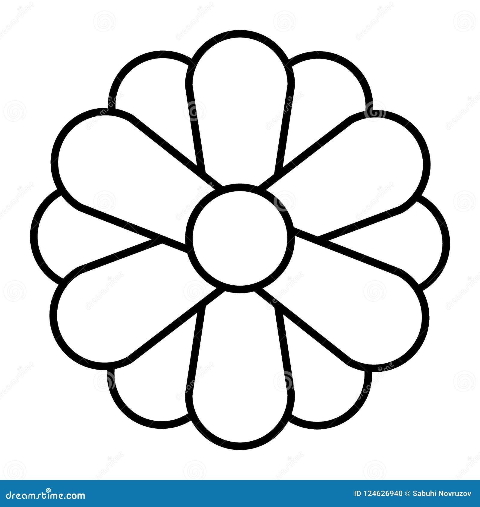 Flower Thin Line Icon Simple Flower Vector Illustration
