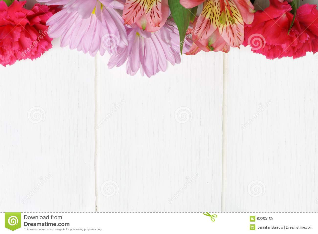 flower top border on white wood stock photo image 52253159