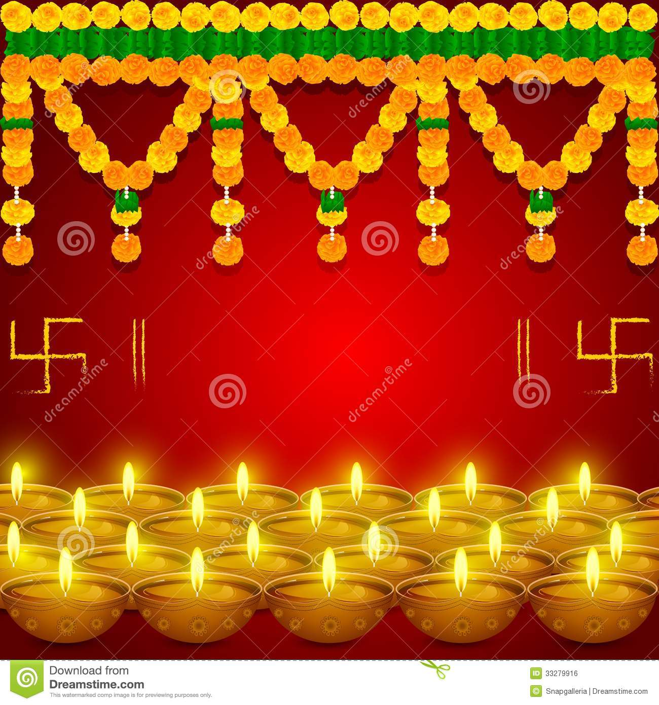Flower Toran with Diya stock vector. Image of decorated ...