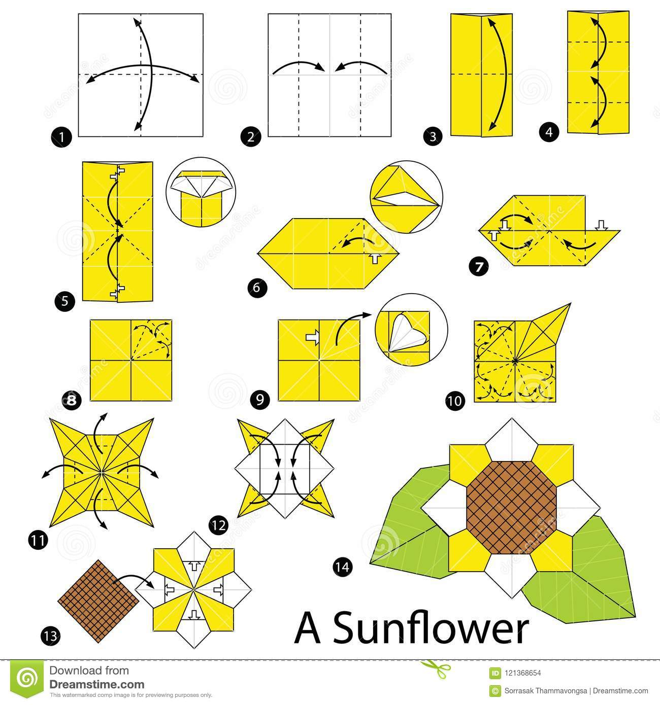 Step By Step Instructions How To Make Origami A Sunflower Stock