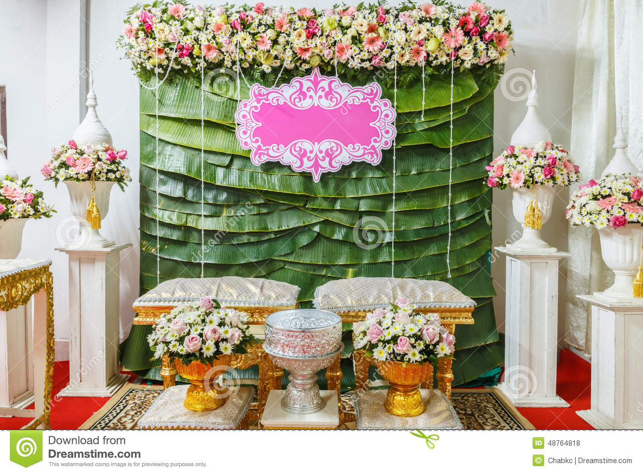 flower tray in thai wedding ceremony stock photo image 48764818. Black Bedroom Furniture Sets. Home Design Ideas