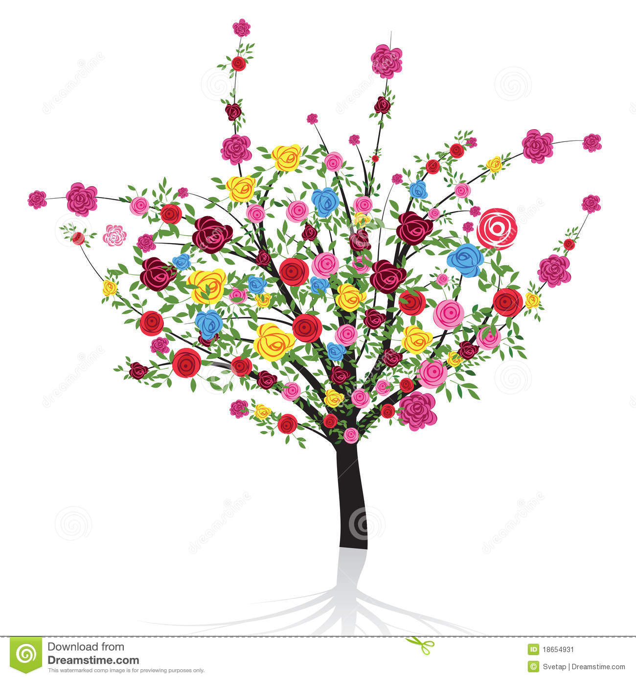Abstract colorful tree with flower rose. illustration for your design.
