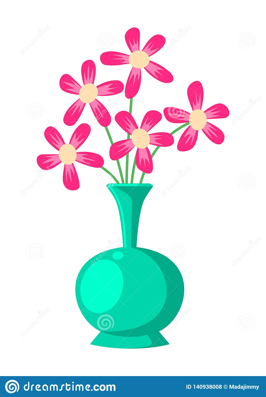 Flower and Vase Illustration Vector