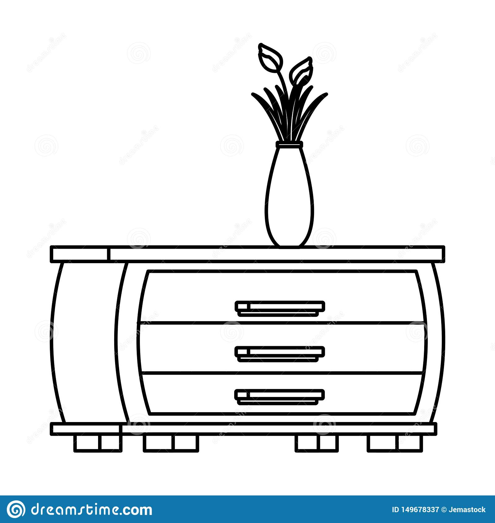 Flower Vase Over A Cupboard Black And White Stock Vector Illustration Of Cartoon Petal 149678337