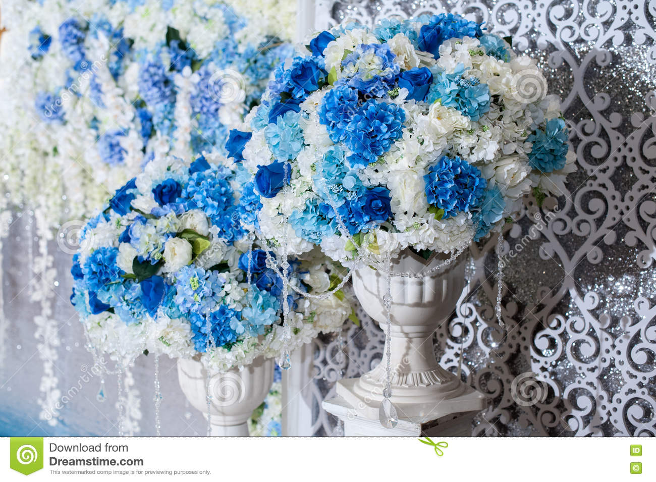 Blue flower on vases stand setting for Decorate with wedding backdrop for wedding party. Beautiful bouquet in a vase on a background of a wedding arch. & Flower On Vases Stand Setting For Decorate With Wedding Backdrop ...