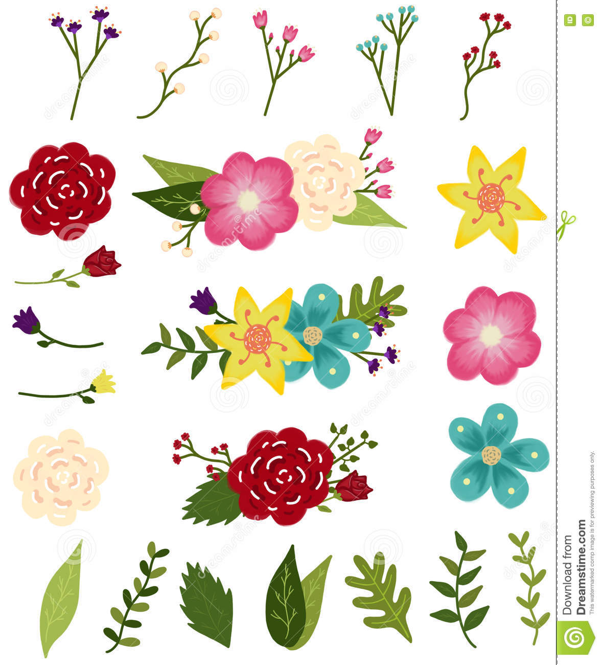 Editable Flower Designs Stock Vector Illustration Of Drawn 77315897