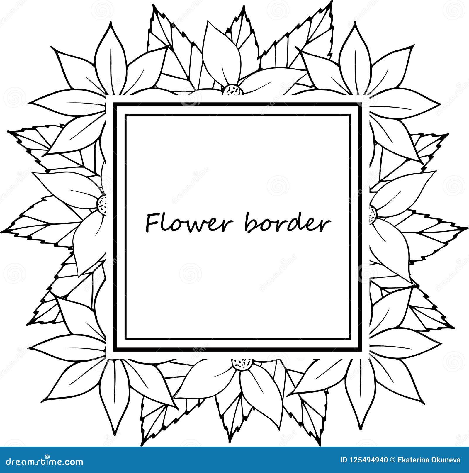 flower vector drawing frame hand drawn floral wedding invitation