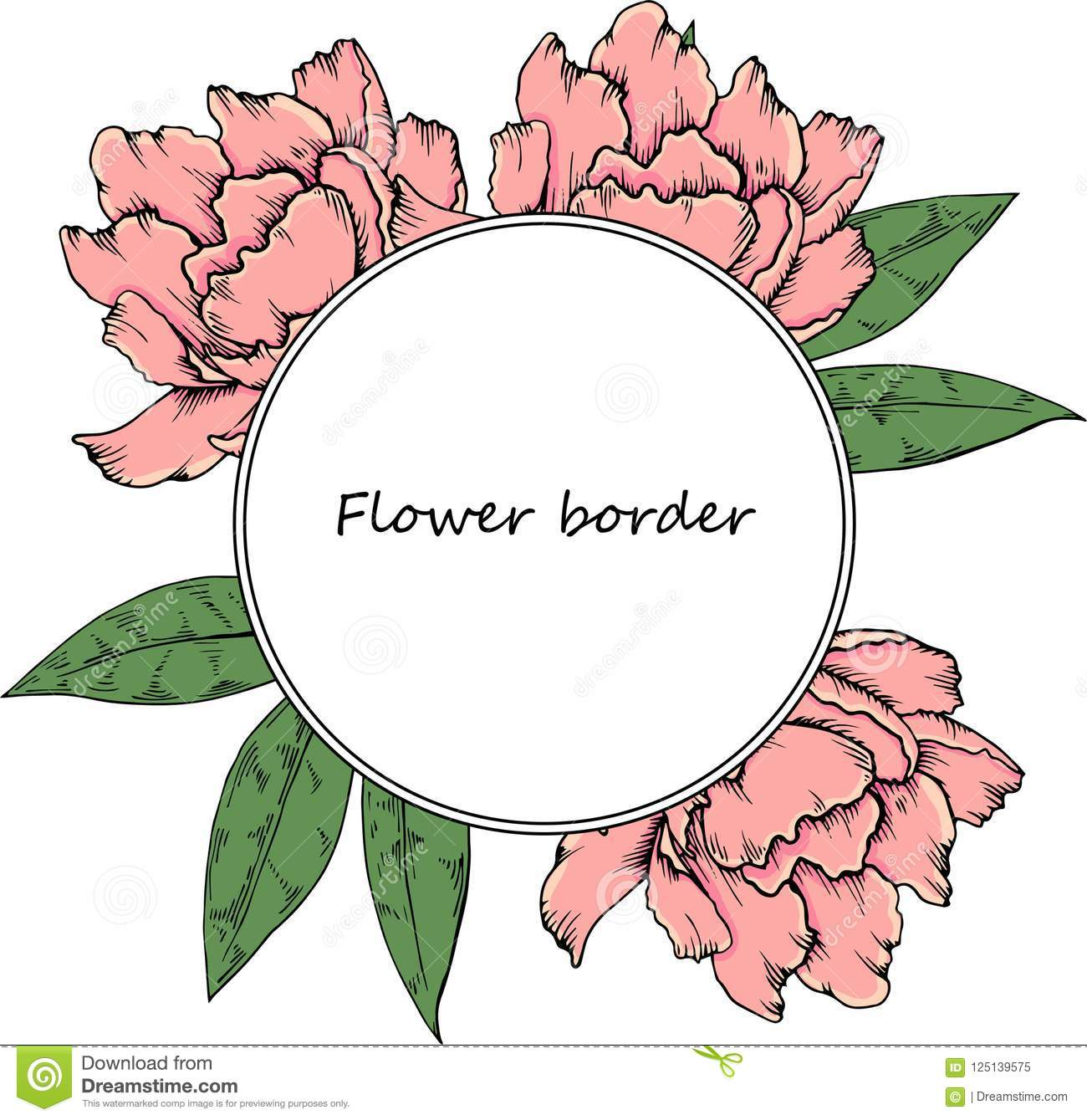 Flower Vector Drawing Frame Hand Drawn Floral Wedding Invitation