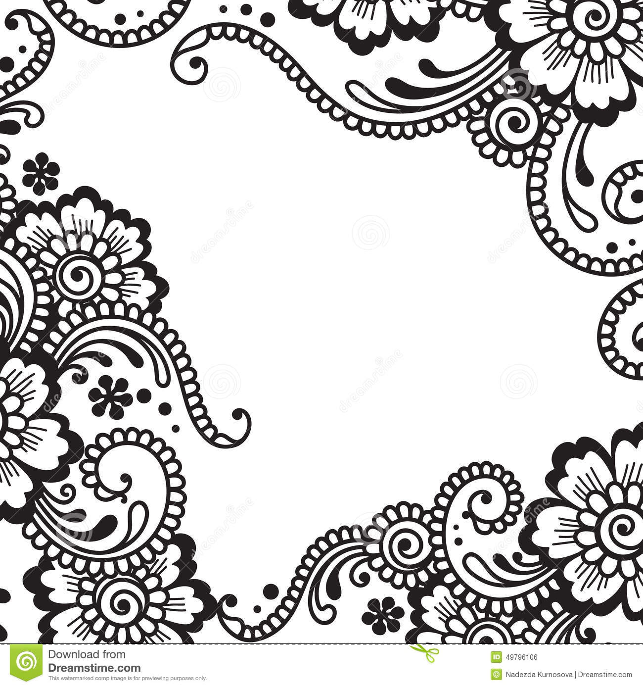 Line Art Corner Design : Flower vector ornament corner stock image