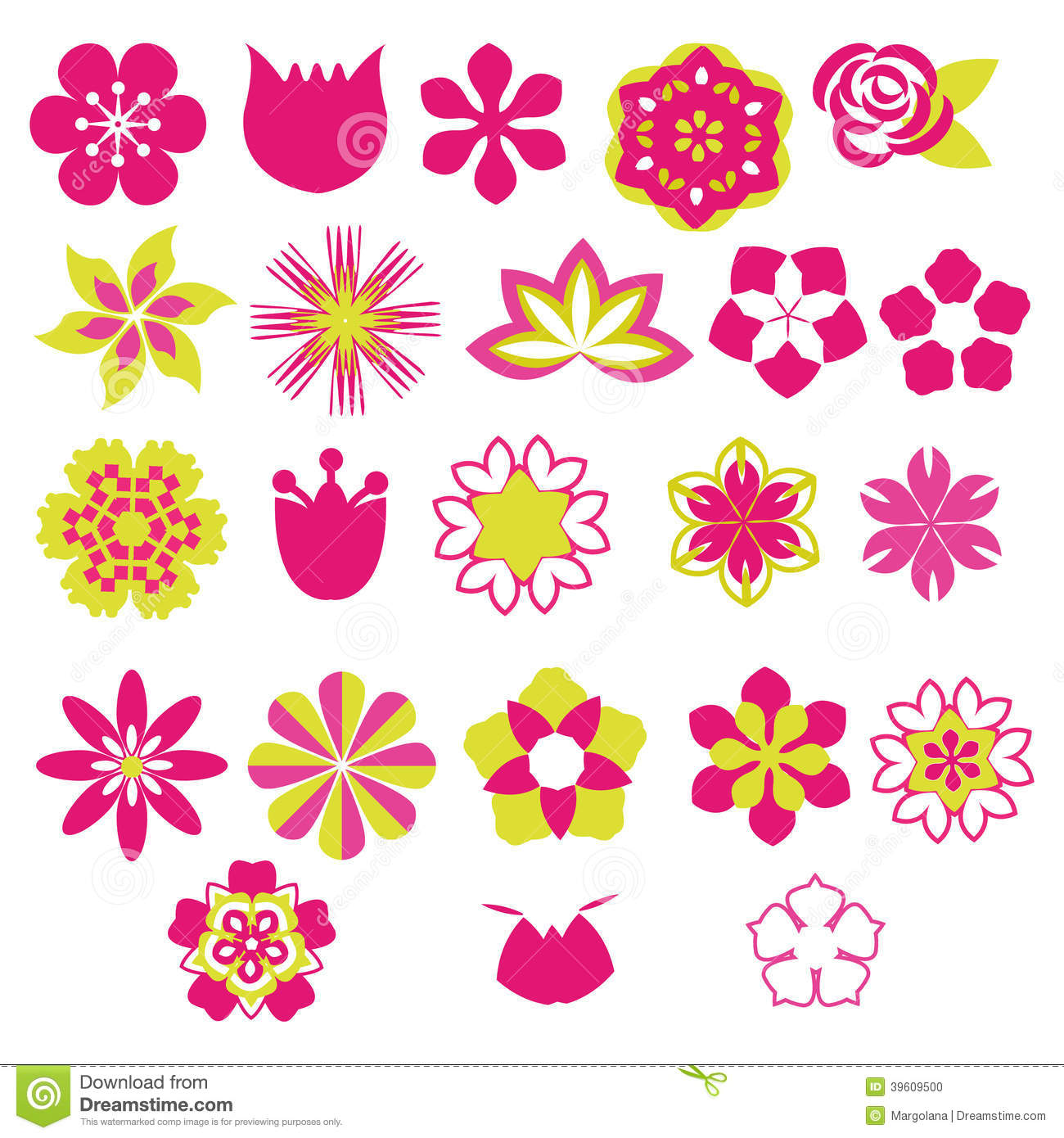 Flower Vector Symbols Icon Set Illustration Stock Vector Image