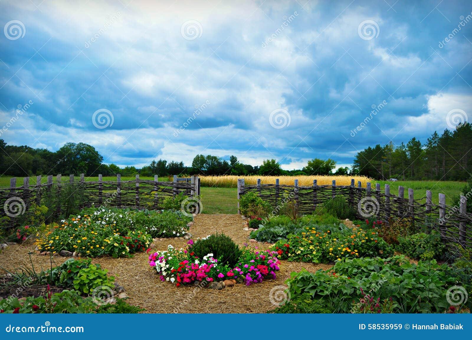 Beautiful vegetable garden fence - Beautiful Cloudy Day Fence Field Flower Garden