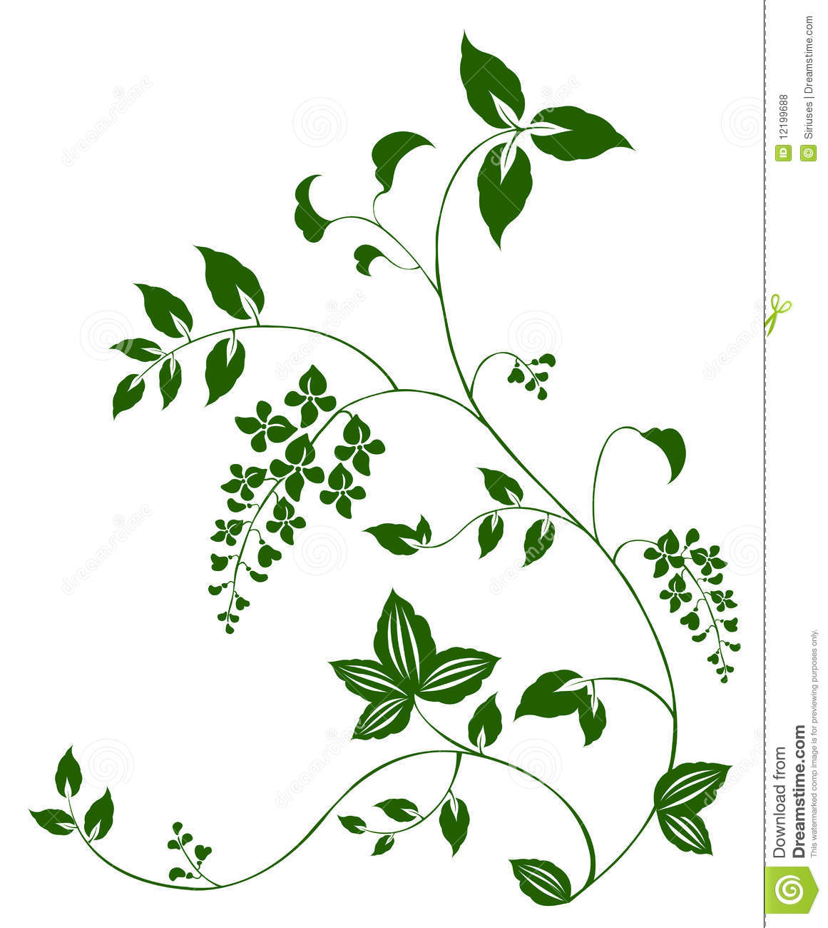 Flower And Vine Pattern Royalty Free Stock Photos - Image: 12199688