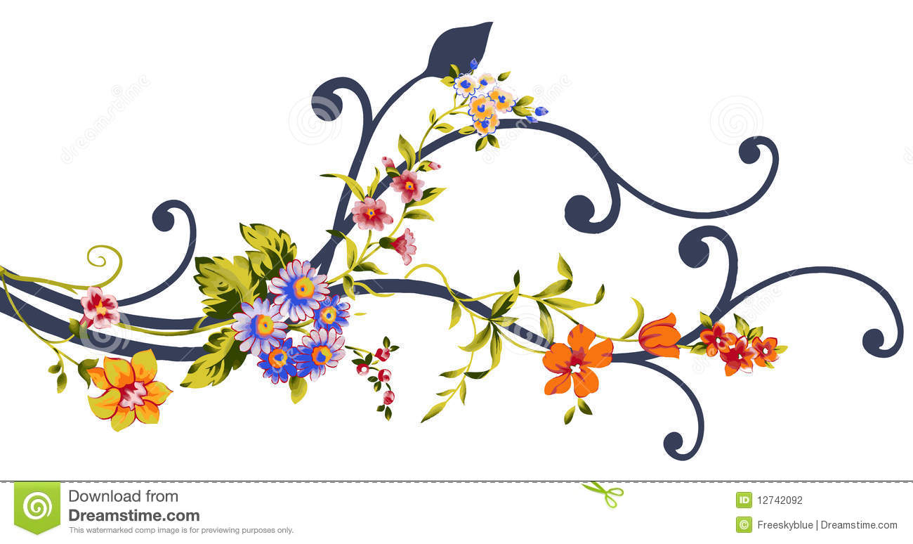 Drawing of beautiful flowers and vine in a white background.
