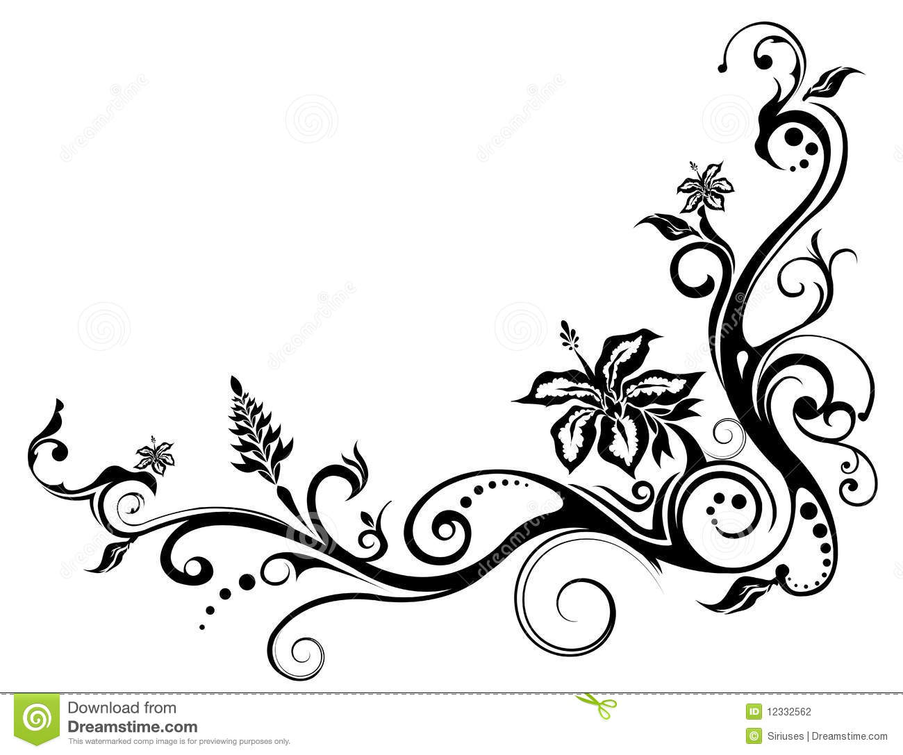 Easy Drawings Of Flowers And Vines Flower and vines pattern Stock