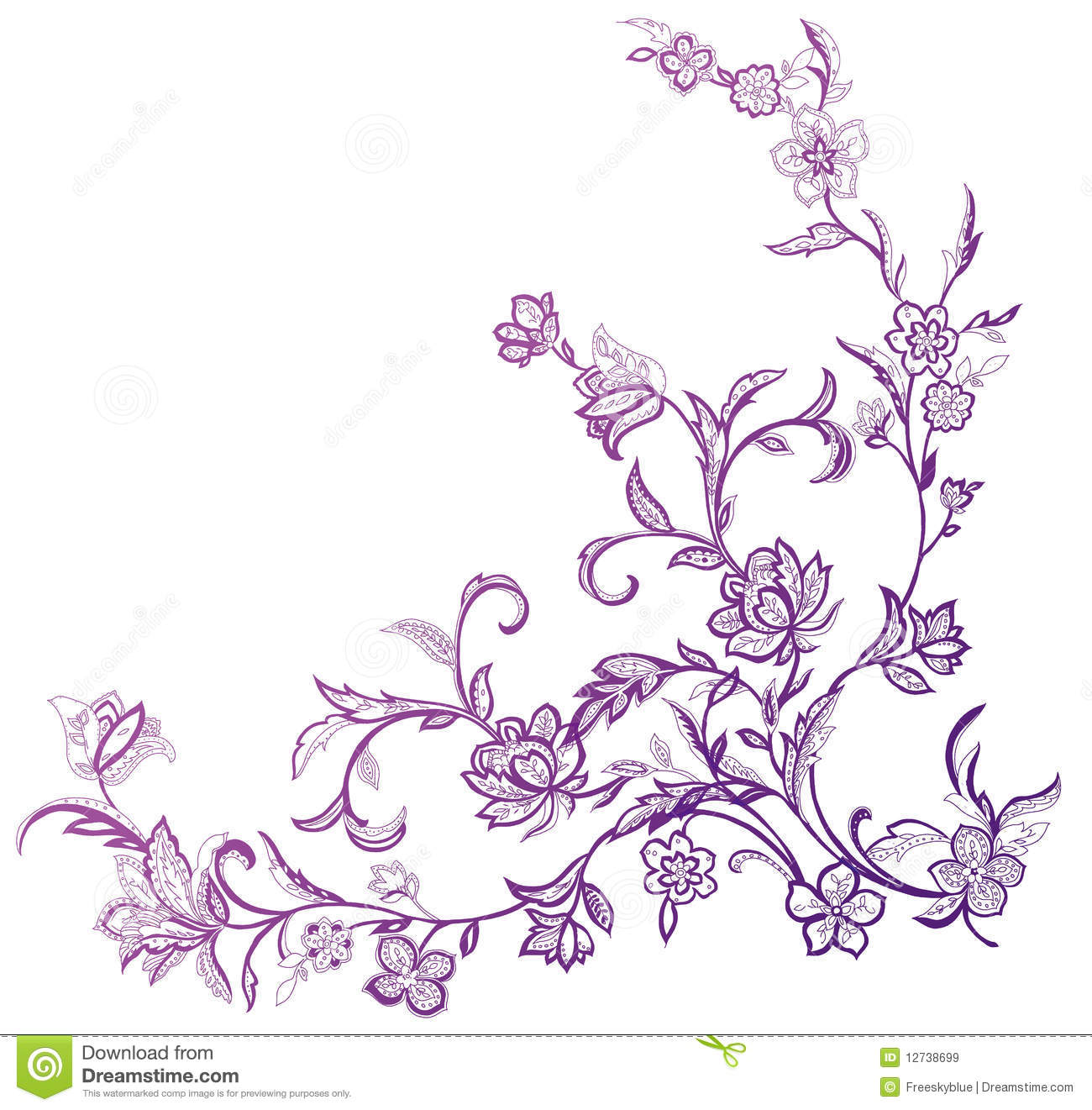 Black Flower And Vines Pattern Royalty Free Stock Image: Flower And Vines Pattern Royalty Free Stock Images