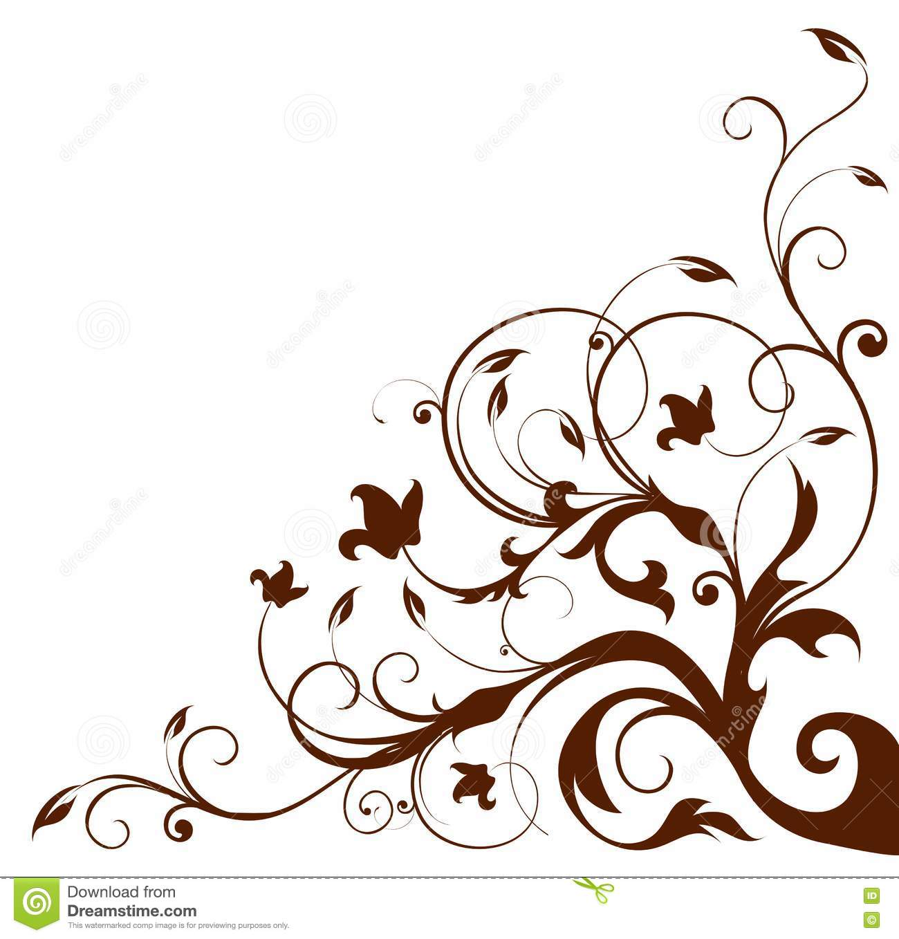 Black Flower And Vines Pattern Royalty Free Stock Image: Flower And Vines Pattern Royalty Free Stock Photos
