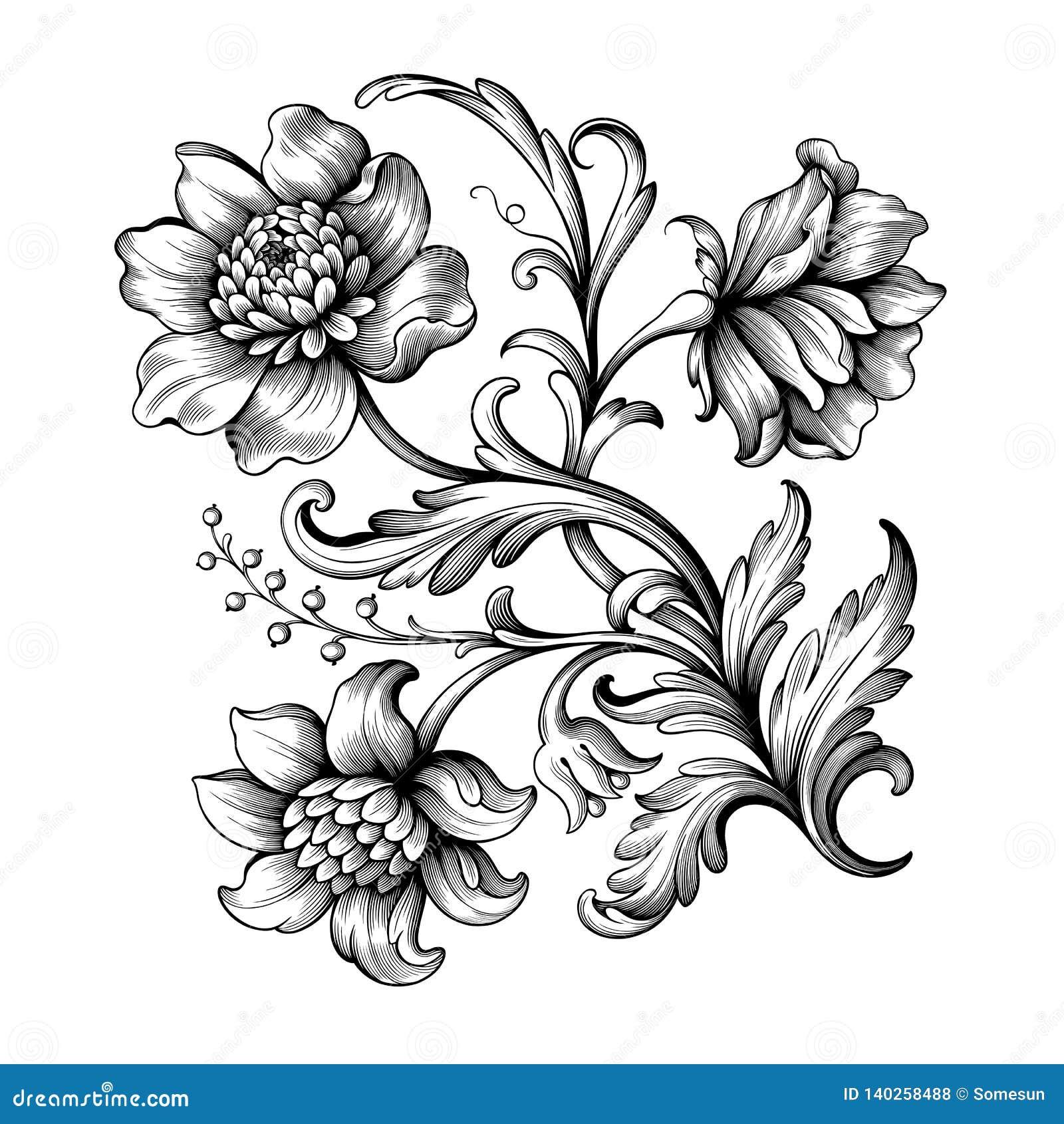 Flower vintage Baroque scroll Victorian frame border floral ornament engraved retro pattern rose peony tattoo filigree vector