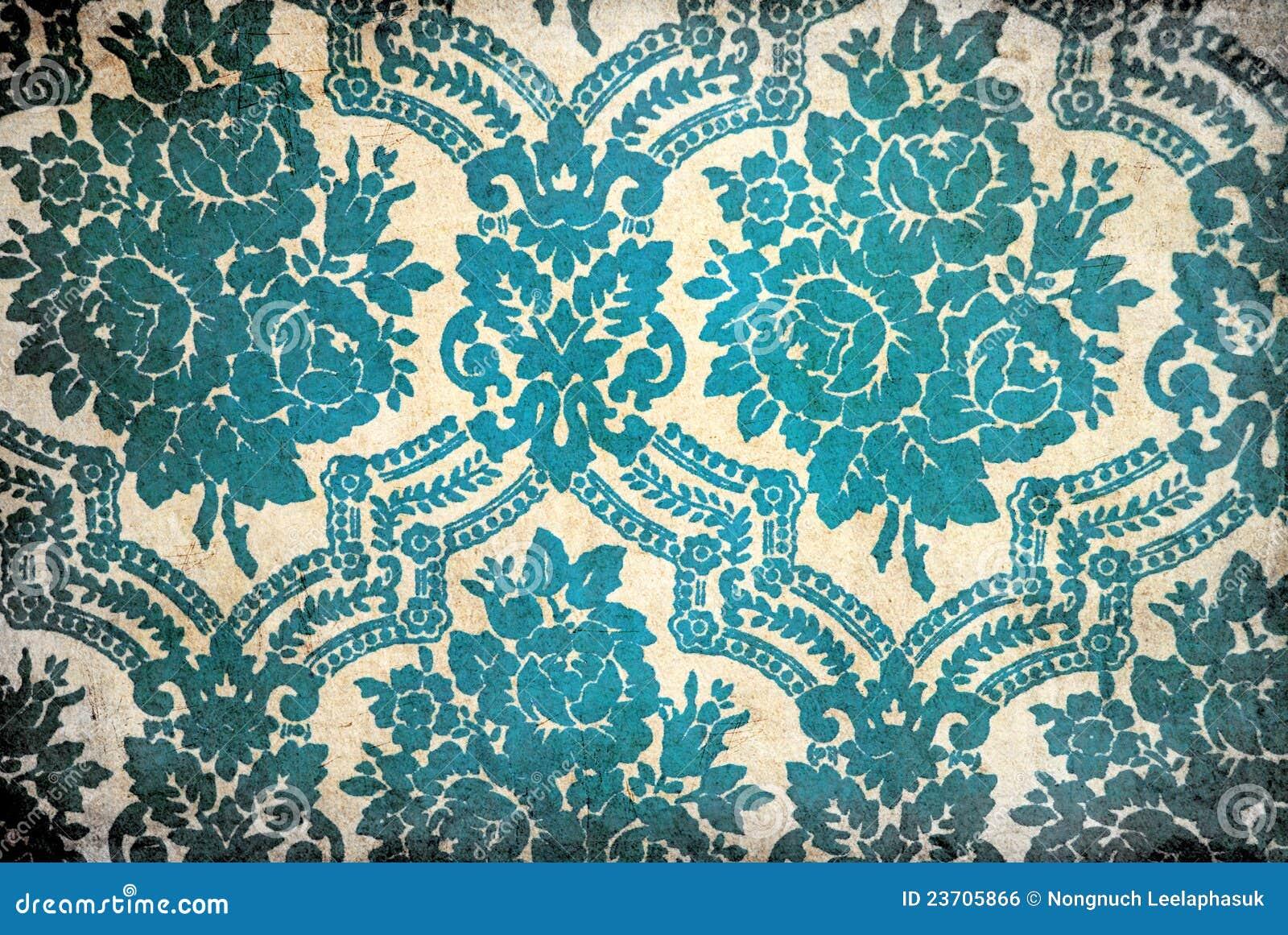 Blue Floral Vintage Wallpaper Flower vintage wallpaper