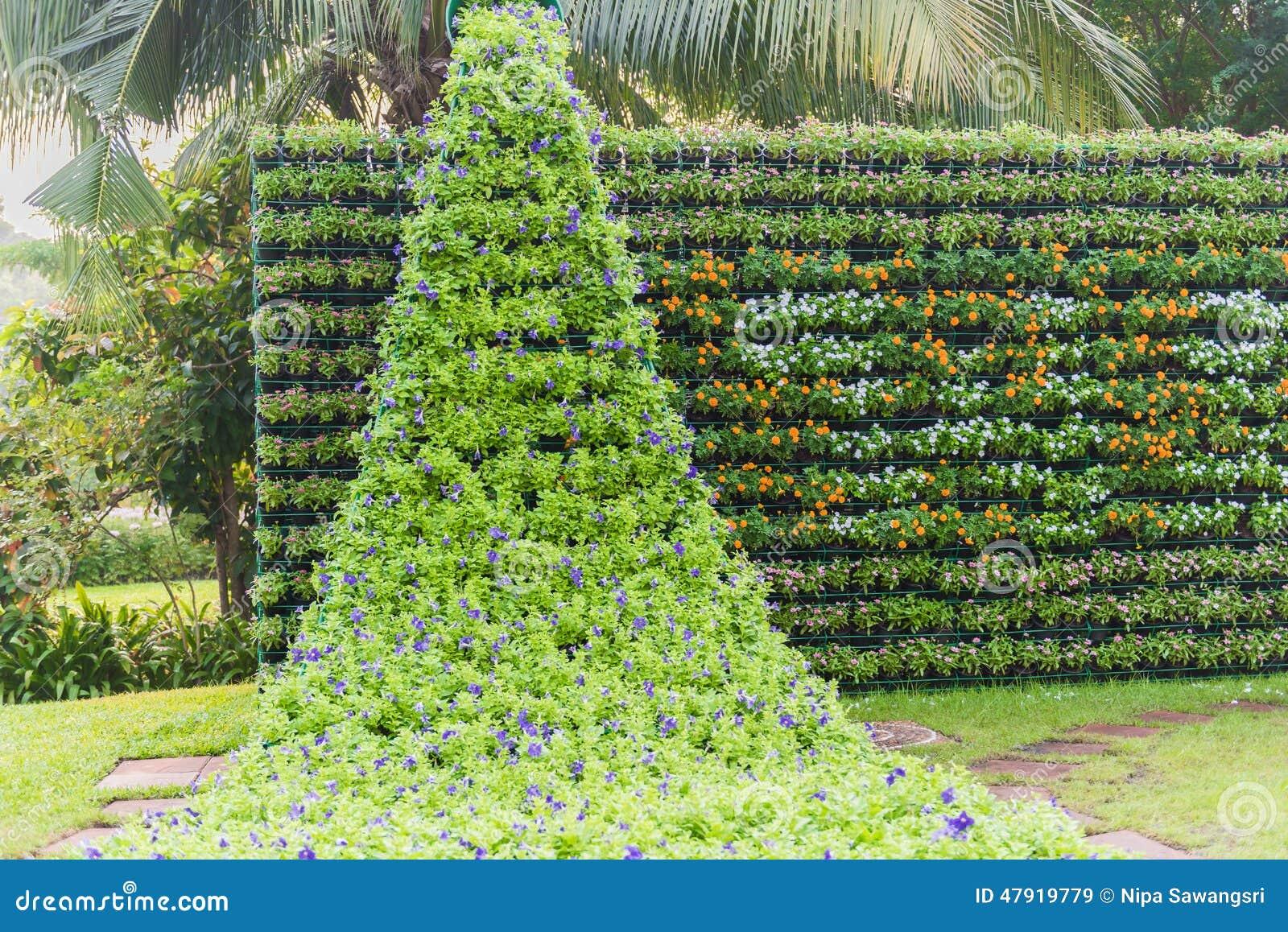 Flower wall vertical garden stock image image of for Flower wall garden