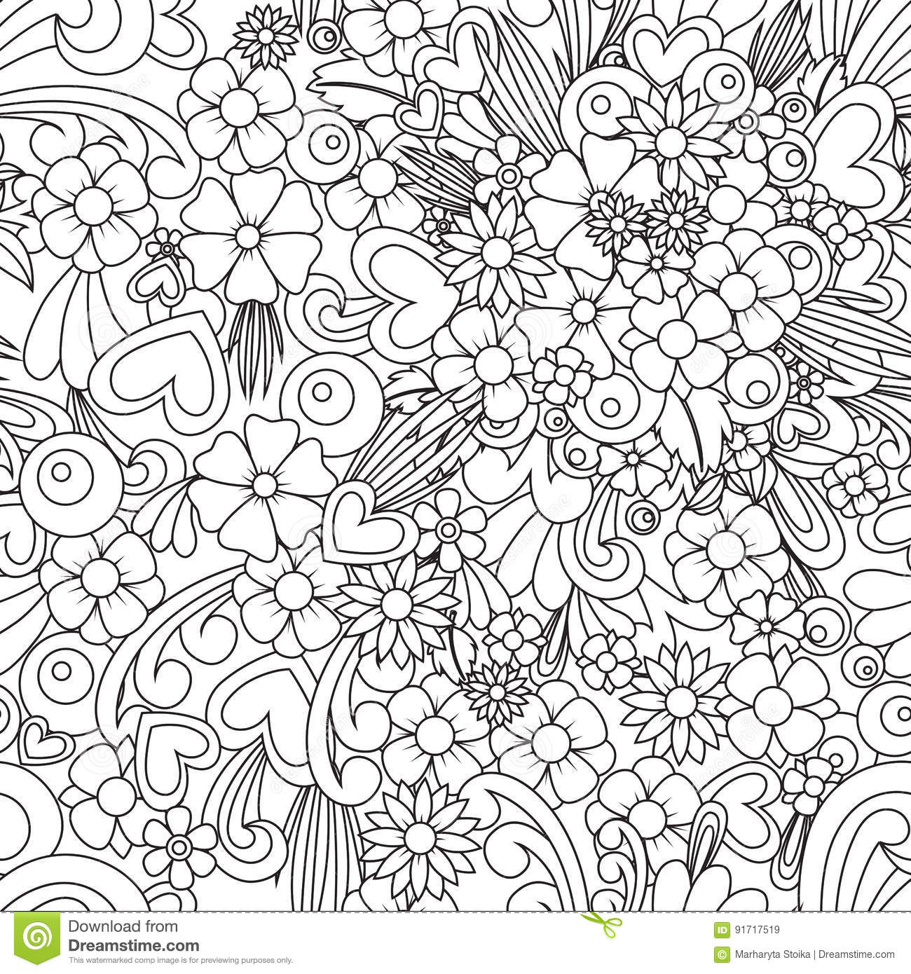 Flower Wallpaper Zentangle Art Seamless Pattern Background Vector