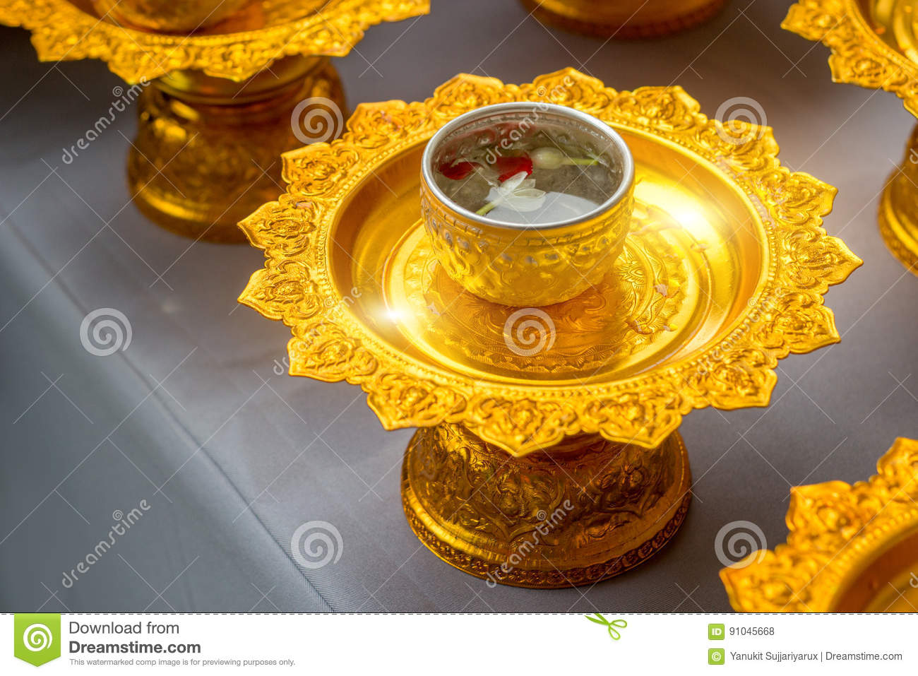 Flower And Water For Song Gran Day Festival Stock Photo Image Of