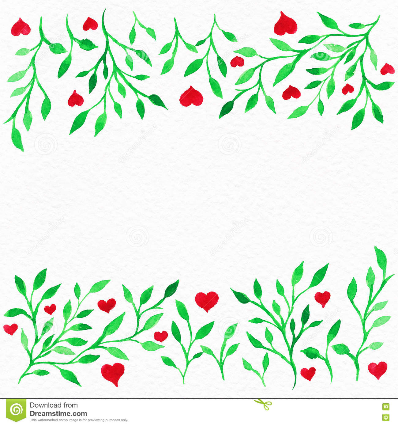 Flower Watercolor.Card With Water Color Leaves. By St. Valentine ...